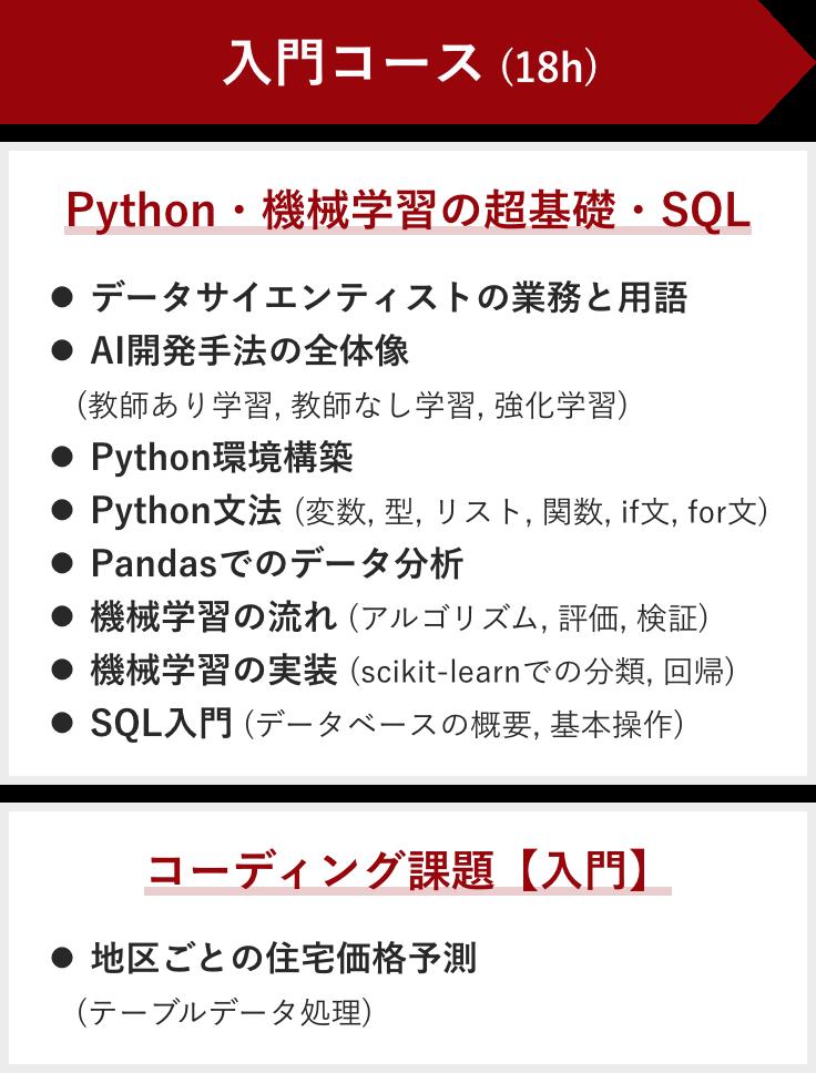 入門コースで学ぶこと:Python・機械学習の超基礎・SQL